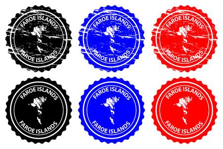 Faroe Islands  rubber stamp  vector, Faroe Islands map pattern  sticker  black, blue and red