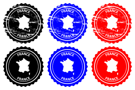 France - rubber stamp - vector,  French Republic map pattern - sticker - black, blue and red
