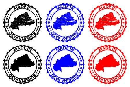 Made in Burkina Faso  rubber stamp  vector, Burkina Faso map pattern  black, blue and red Illustration
