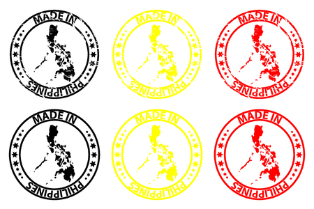 Made in Philippines rubber stamp vector pattern - in black, yellow and red