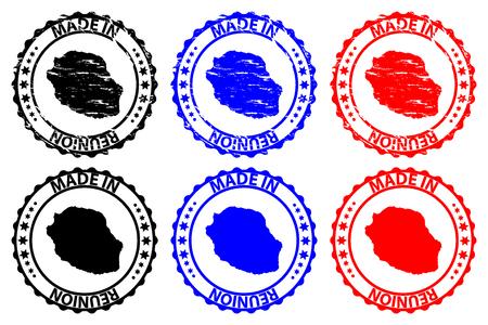 Made in Reunion rubber stamp Zdjęcie Seryjne - 100482944