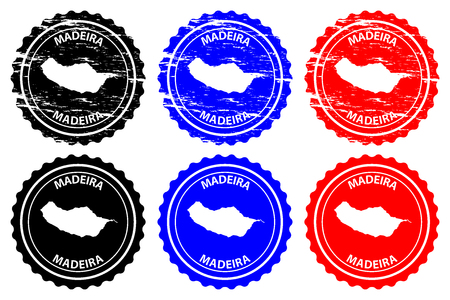Madeira - rubber stamp - vector, Madeira map pattern - sticker - black, blue and red