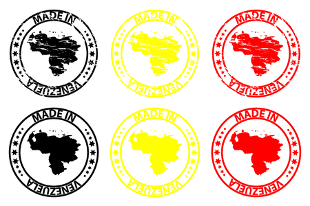 Made in Venezuela - rubber stamp - vector, Venezuela map pattern - black, yellow and red