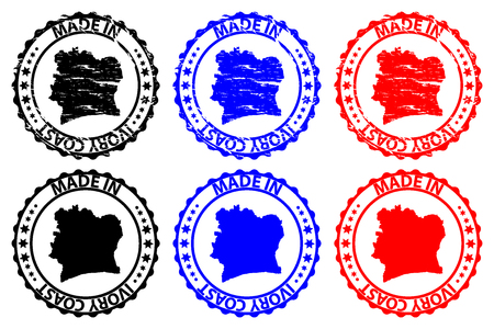 Made in Ivory Coast - rubber stamp - vector, Ivory Coast map pattern - black, blue and red