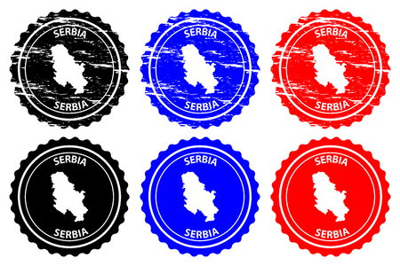 Serbia - rubber stamp - vector, Serbia map pattern - sticker - black, blue and red