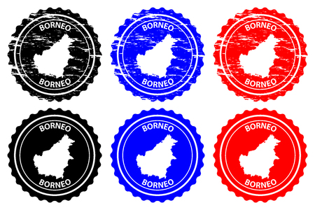 Borneo rubber stamp vector, Kalimantan map pattern sticker in black, blue and red color.