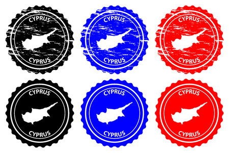 Cyprus - rubber stamp - vector,Republic of Cyprus map pattern - sticker - black, blue and red