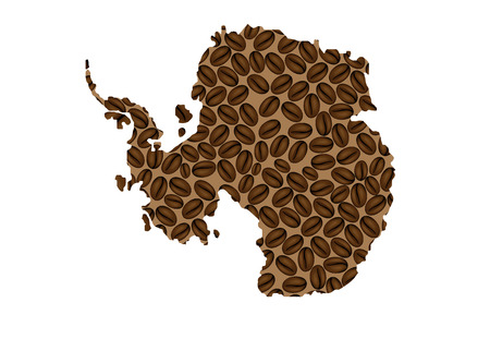 Antarctica -  map of coffee bean,  Antarctica map made of coffee beans,