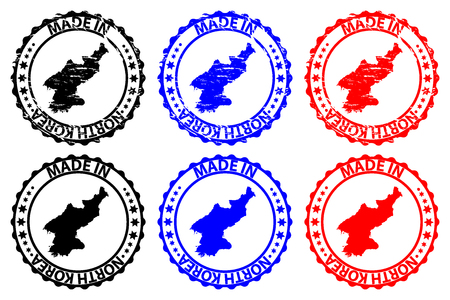 Made in North Korea - rubber stamp - vector, Democratic People's Republic of Korea (DPRK) map pattern - black, blue and red 일러스트