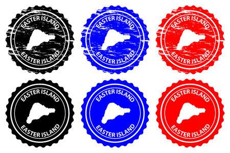 Easter Island - rubber stamp - vector, Rapa Nui map pattern - sticker - black, blue and red