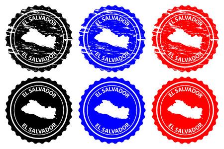 El Salvador - rubber stamp - vector, Republic of El Salvador map pattern - sticker - black, blue and red