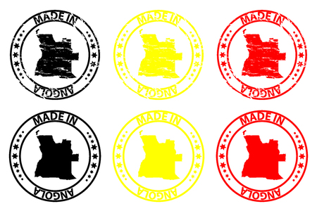 Made in Angola - rubber stamp - vector, Angola map pattern - black, yellow and red