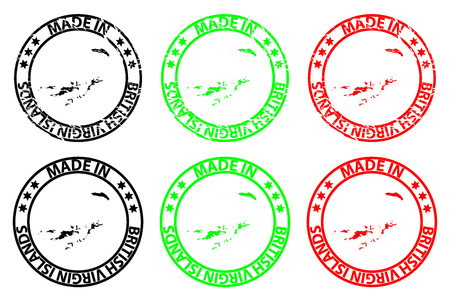 Made in British Virgin Islands - rubber stamp - vector, British Virgin Islands map pattern - black, green and red