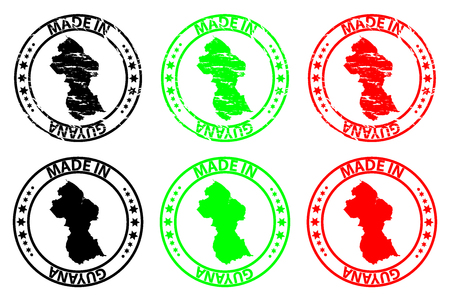 Made in Guyana - rubber stamp - vector, Guyana map pattern - black, green and red