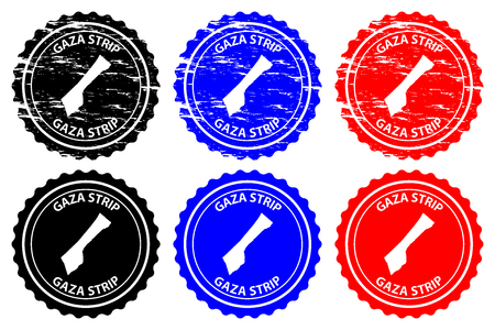 Gaza Strip - rubber stamp - vector, Gaza Strip map pattern - sticker - black, blue and red