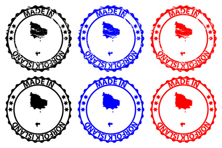 Made in Norfolk Island - rubber stamp - vector, Norfolk Island map pattern - black, blue and red Illustration