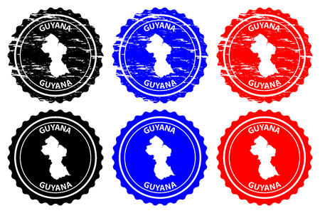 Guyana - rubber stamp - vector, Co-operative Republic of Guyana map pattern - sticker - black, blue and red