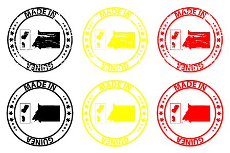 Made in Equatorial Guinea - rubber stamp - vector, Equatorial Guinea map pattern - black, yellow and red Illusztráció