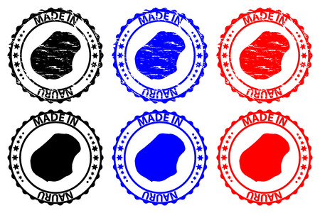 Made in Nauru - rubber stamp - vector, Republic of Nauru (Pleasant Island) map pattern - black, blue and red