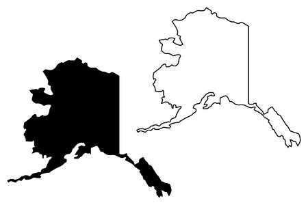 Illustration vectorielle de carte de l'Alaska, croquis de griffonnage carte de l'Alaska Vecteurs
