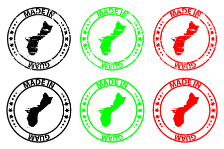 Made in Guam - rubber stamp - vector, Guam map pattern - black, green and red Illusztráció