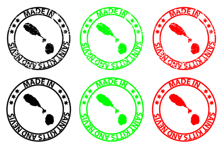 Made in Saint Kitts and Nevis - rubber stamp - vector, Federation of Saint Christopher and Nevis map pattern - black, green and red