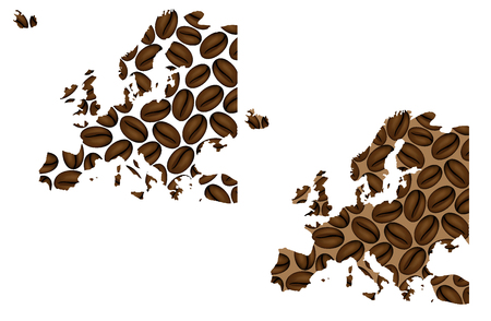 Europe - map of coffee bean, Europe map made of coffee beans,