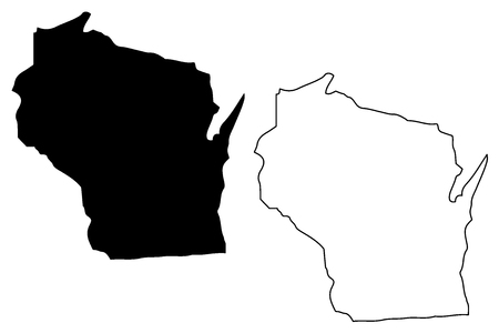 Wisconsin map vector illustration, scribble sketch Wisconsin map 向量圖像