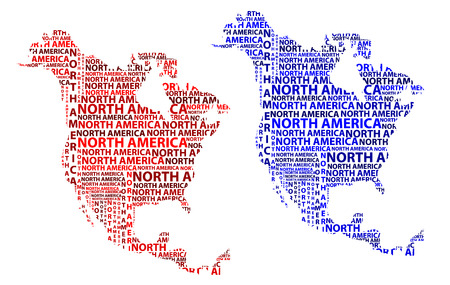 Sketch North America letter text continent, North America word - in the shape of the continent, Map of continent North America - red and blue vector illustration