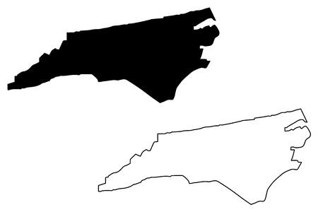 North Carolina map vector illustration, scribble sketch North Carolina map 일러스트