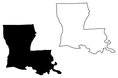 Louisiana map vector illustration, scribble sketch Louisiana map Imagens - 102162330