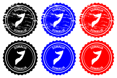 Somalia - rubber stamp - vector, Federal Republic of Somalia map pattern - sticker - black, blue and red