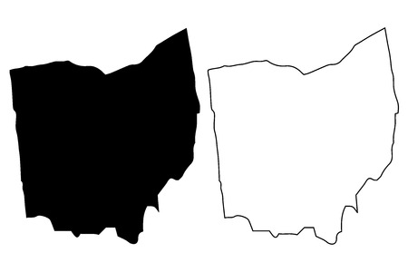 Ohio map vector illustration, scribble sketch Ohio map Stock Illustratie