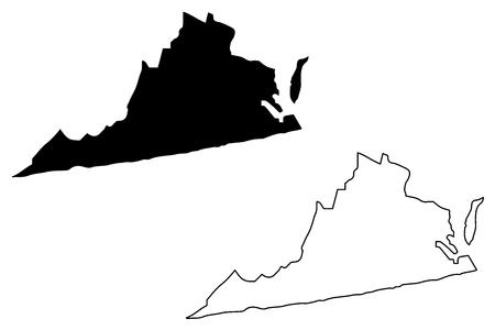 Illustration vectorielle de Virginie carte, croquis de griffonnage carte de Virginie