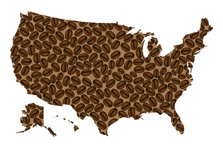 United States of America -  map of coffee bean,  United States (U.S.),(USA) map made of coffee beans,