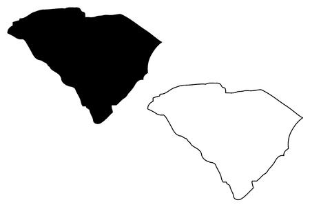 South Carolina map vector illustration, scribble sketch South Carolina map  イラスト・ベクター素材
