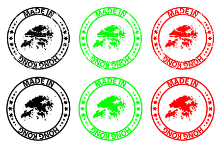 Made in Hong Kong - rubber stamp - vector, Hong Kong map pattern - black, green and red