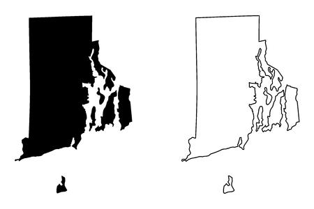 Rhode Island map vector illustration, scribble sketch Rhode Island map 일러스트