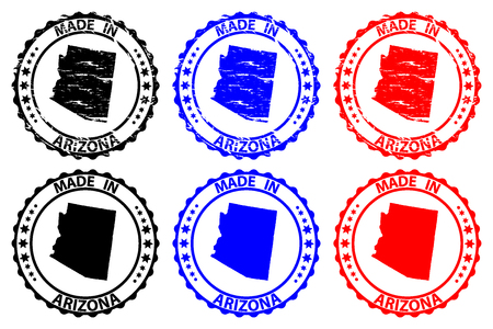 Made in Arizona - rubber stamp - vector, Arizona (United States of America) map pattern - black, blue  and red