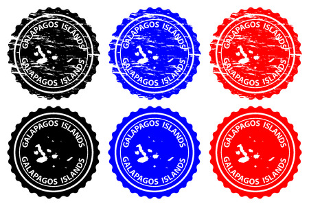 Galapagos Islands - rubber stamp - vector, Galapagos Islands (Archipielago de Colon) map pattern - sticker - black, blue and red
