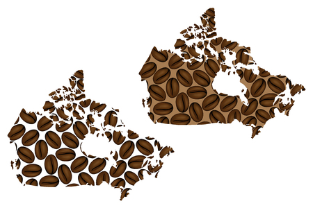 Canada - map of coffee bean, Canada map made of coffee beans,