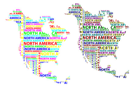 Sketch North America letter text continent, North America word - in the shape of the continent, Map of continent North America - color vector illustration