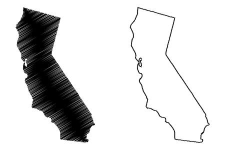 California mappa illustrazione vettoriale, scribble schizzo mappa della California Vettoriali