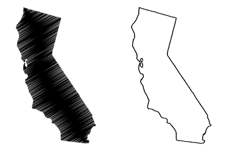 Ilustración de vector de mapa de California, bosquejo de garabatos mapa de California Foto de archivo - 102955443