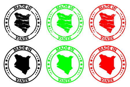 Made in Kenya - rubber stamp - vector, Kenya map pattern - black, green and red
