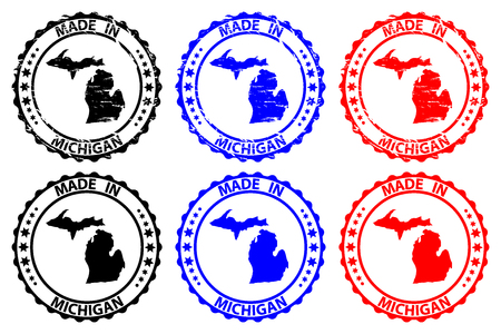 Made in Michigan - rubber stamp - vector, Michigan (United States of America) map pattern - black, blue and red