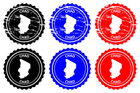 Chad - rubber stamp - vector, Republic of Chad map pattern - sticker - black, blue and red