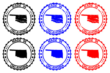 Made in Oklahoma - rubber stamp - vector, Oklahoma (United States of America) map pattern - black, blue and red