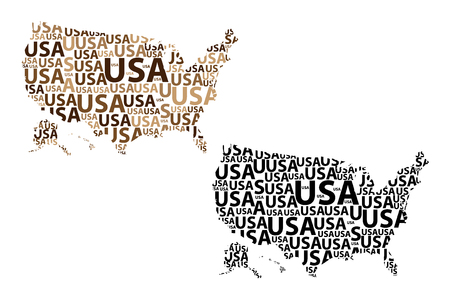 Sketch United States of America letter text map, USA - in the shape of the continent, Map of  USA - brown and black vector illustration