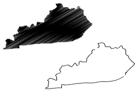 Kentucky map vector illustration, scribble sketch  Kentucky map
